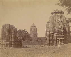 Panoramic view of a group of temples by the roadside, Bhubaneshwar (right-hand section)